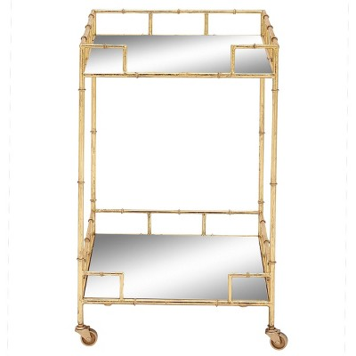 Contemporary Square Bar Cart with 2 Mirrored Trays Gold - Olivia & May