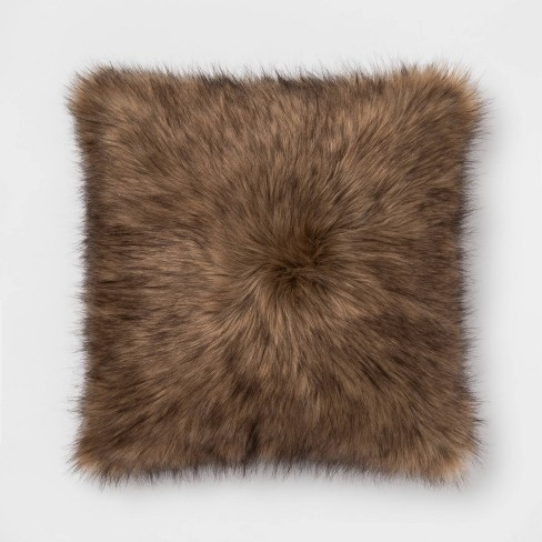 Faux Fur Oversize Square Throw Pillow - Threshold™ - image 1 of 2
