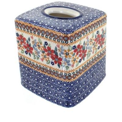 Blue Rose Polish Pottery Red Daisy Tissue Box