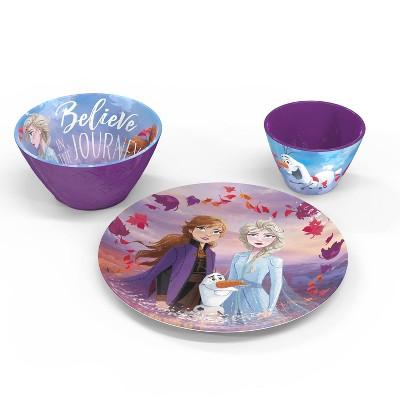 Frozen 2 3pc Melamine Princess Dinnerware Set Purple - Zak Designs
