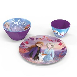 Frozen 2 3pc Melamine Princess Dinnerware Set Purple - Zak Designs