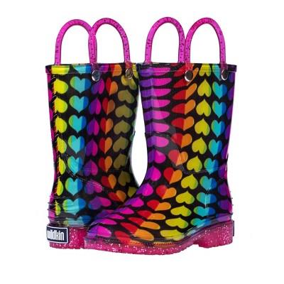 Wildkin Rainbow Hearts Rain Boots, size 10