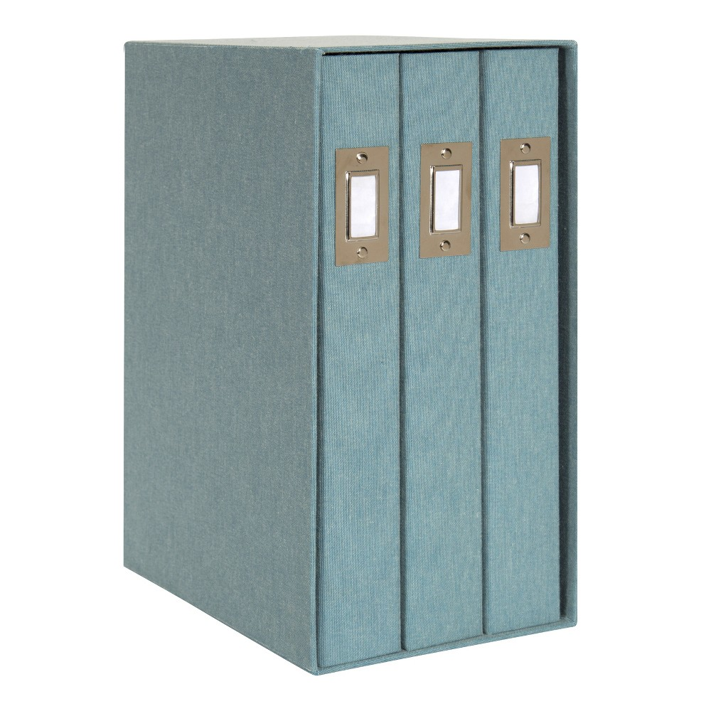 Image of Set of 3 Cydney Fabric Photo Albums In Display Box Teal - Designovation