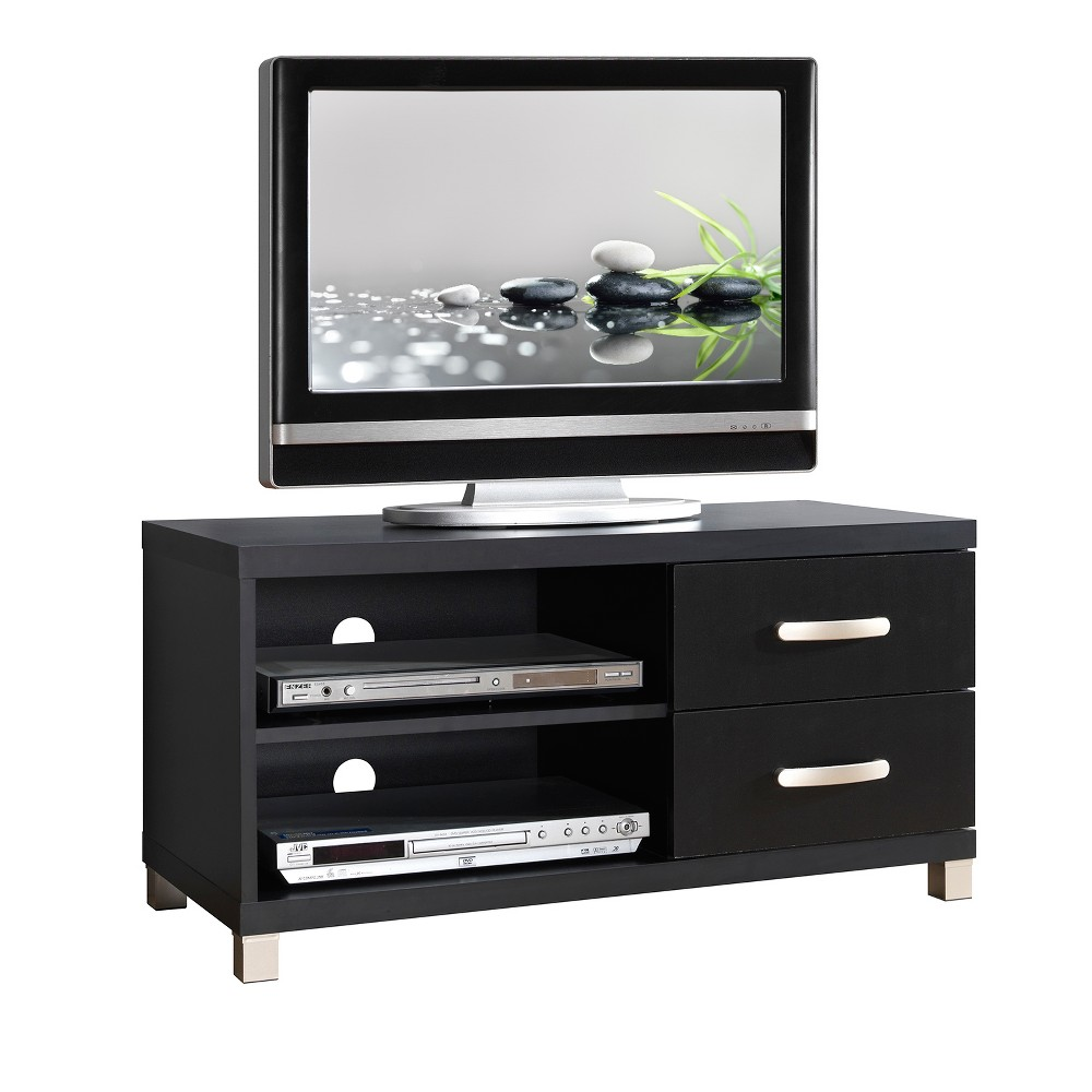 TV Stand Black 40 - Techni Mobili This contemporary Techni Mobili TV cabinet, for TVs up to 40, is designed to fit any bedroom or family room. It includes two drawers for optimal storage. The Techni Mobili TV cabinet is made of heavy duty compressed wood and laminate surface that is resistant to scratches. TV stand with drawer also features additional storage space for your electronics and gaming accessories. Color: Black.