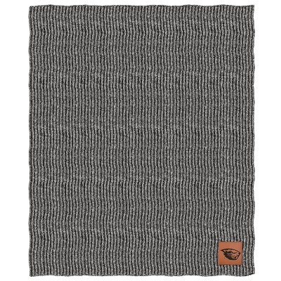 NCAA Oregon State Beavers Two- Tone Sweater Knit Blanket with Faux Leather Logo Patch