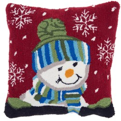 The Holiday Snow Boy Square Throw Pillow Red - Mina Victory