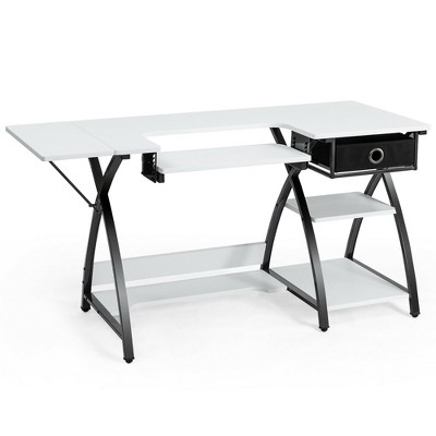Costway Sewing Craft Table Folding Computer Desk Adjustable Platform w/ Drawer & Shleves