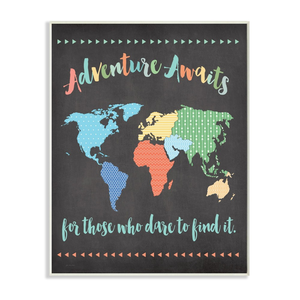 "Image of ""Adventure Awaits World Map Wall Plaque Art (10""""x15""""x0.5"""") - Stupell Industries"""
