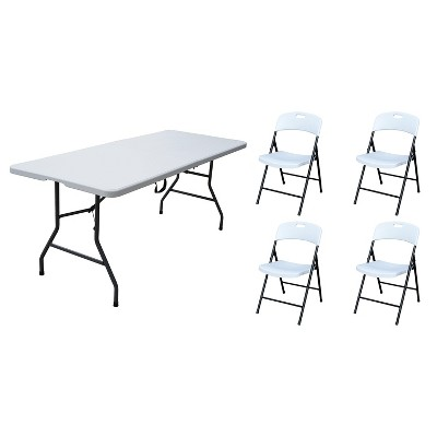 Plastic Development Group 806 Outdoor/Indoor 6 Foot Fold In Half Plastic Resin Folding Banquet, Dining, Card Table with 4 Folding Chairs