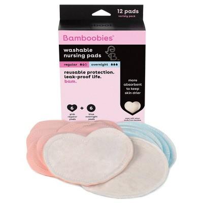 Bamboobies Regular & Overnight Reusable Nursing Pad Variety Pack - 12ct