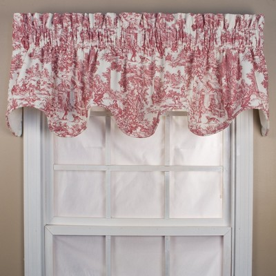 "Ellis Curtain Victoria Park Toile High Quality Room Darkening Solid Natural Stylish Color Lined Scallop Window Valance - (70""x15"")"