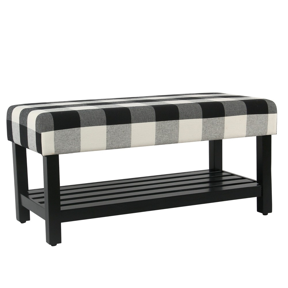 Decorative Bench with Wooden Black Plaid - Homepop