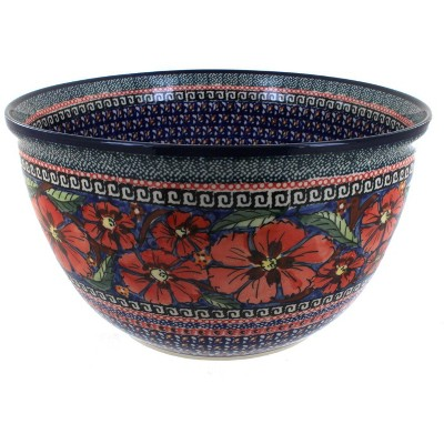 Blue Rose Polish Pottery Jungle Flower Large Mixing Bowl