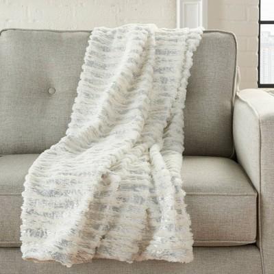 Fur Foil Stripes Faux Fur Throw Blanket Ivory Silver - Mina Victory