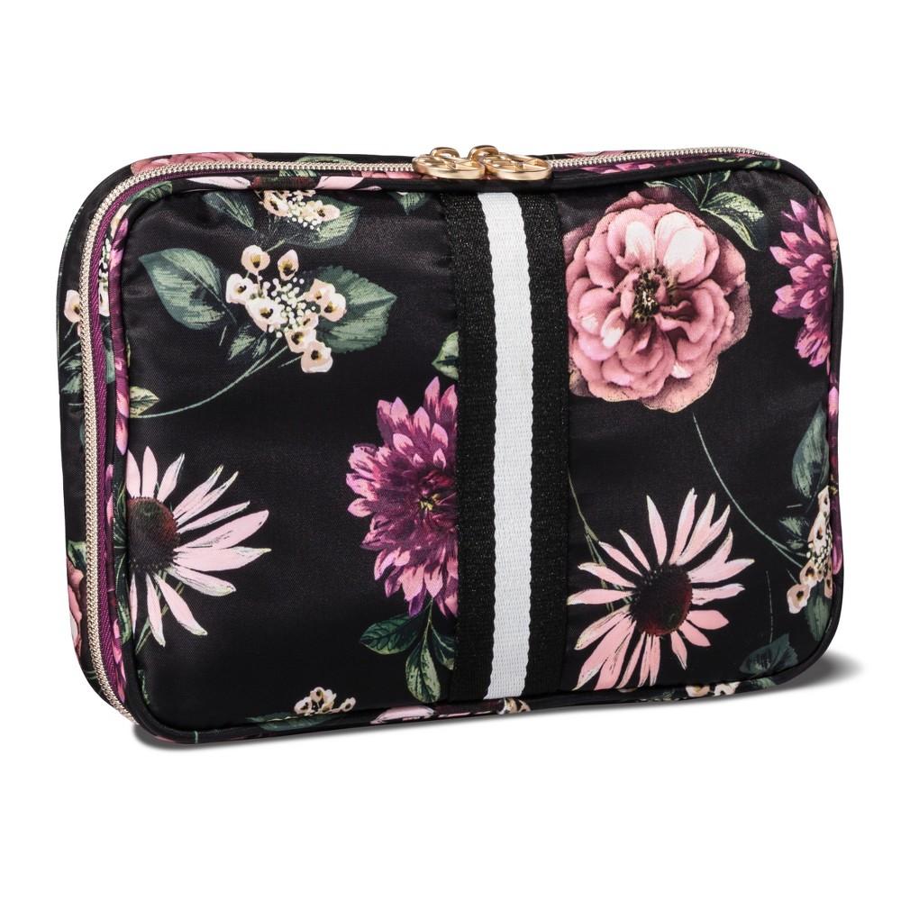 Sonia Kashuk Cosmetic Bag Always Organized Dark Floral with Webbing