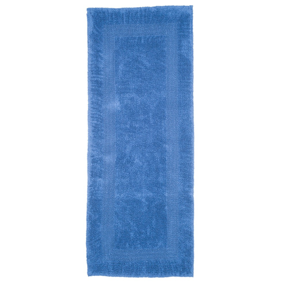 Solid Reversible Long Bath Rug Blue - Yorkshire Home