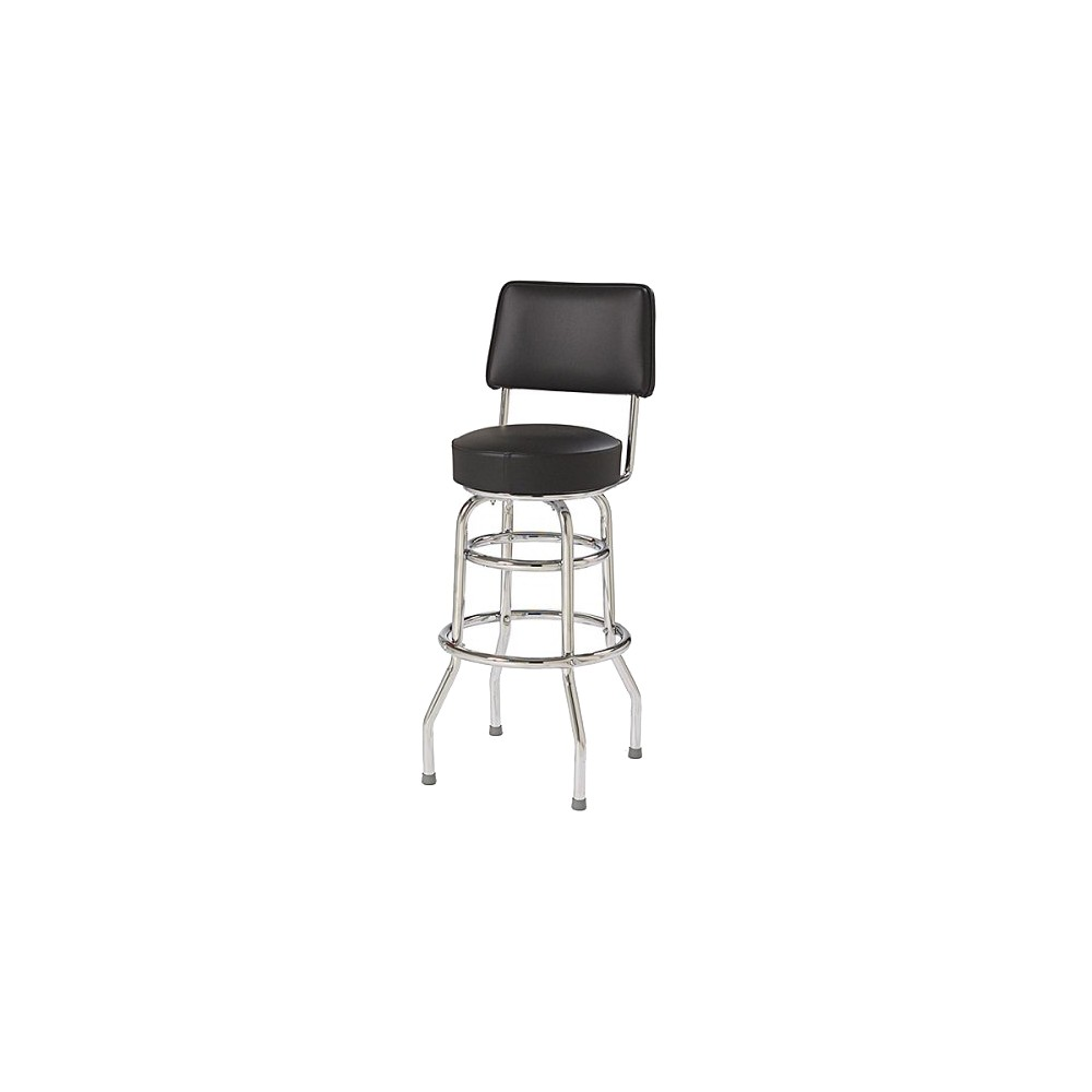 Pleasant Double Ring Bar Stool With Back Black Inzonedesignstudio Interior Chair Design Inzonedesignstudiocom