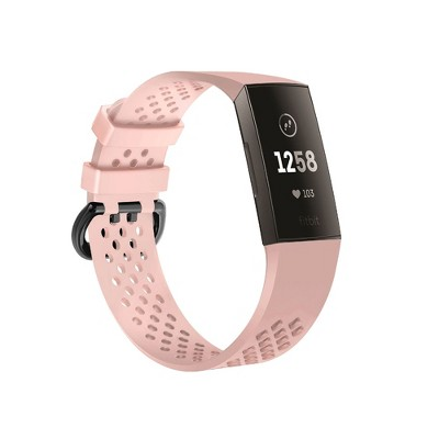 Insten Soft TPU Rubber Replacement Band Compatible with Fitbit Charge 4 & Charge 3, Pink