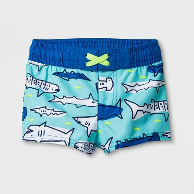 Baby Boys' Sharks Swim Trunks - Cat & Jack™ Blue 3-6M