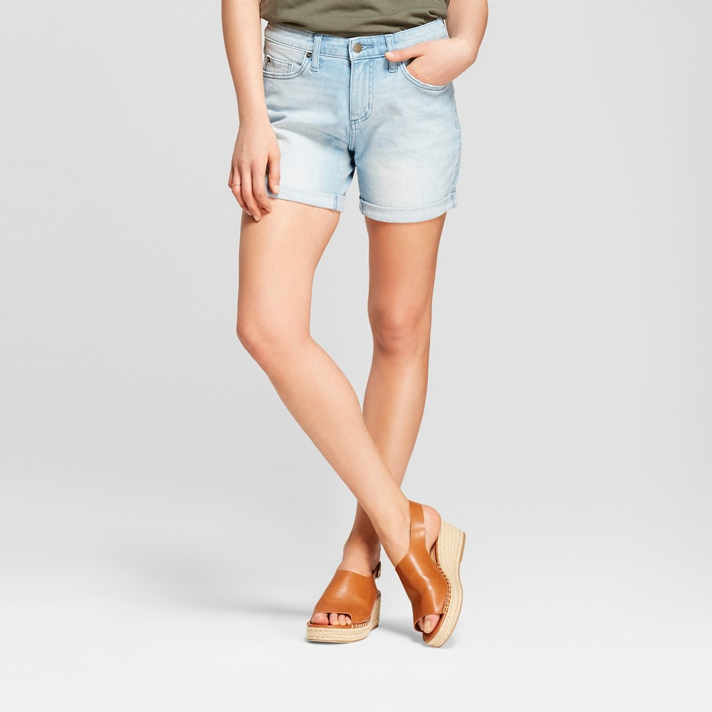 Women's Mid-Rise Boyfriend Jean Shorts - Universal Thread Light Wash 16, Blue