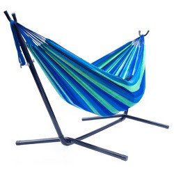 Sorbus Brazilian Double Hammock with Stand - Green, Blue Stripes
