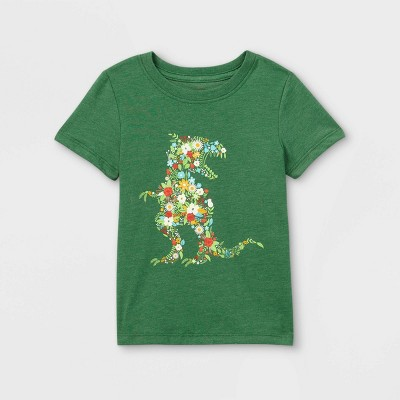 Toddler Boys' Floral T-Rex Graphic Short Sleeve T-Shirt - Cat & Jack™ Green