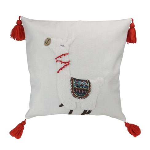 """Melrose 17.5"""" Square Llama Indoor Throw Pillow with Tassels - White/Orange - image 1 of 3"""