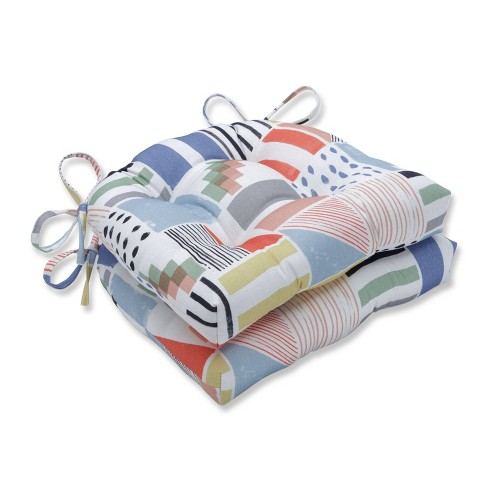 Set of 2 Amagansett Summer Reversible Chair Pad - Pillow Perfect - image 1 of 1