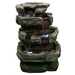 "31"" Rock Quarry Outdoor Water Fountain with LED Lights - Sunnydaze Decor"