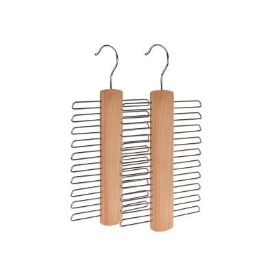 StorageWorks 2pk Solid Wood Premium Multi Function Tie and Belt Hangers Natural Finish