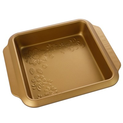 """Gibson 8"""" Country Kitchen Embossed Square Carbon Steel Baking Pan in Copper"""