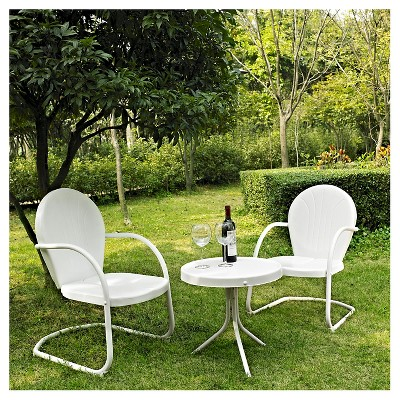 Griffith 3 Piece Metal Outdoor Chat Set - White - Crosley
