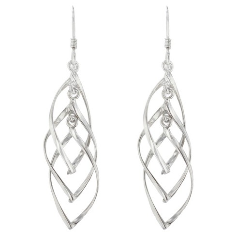 Drop Dangle Earrings Plated Brass Twisted Interlocking - Silver - image 1 of 1