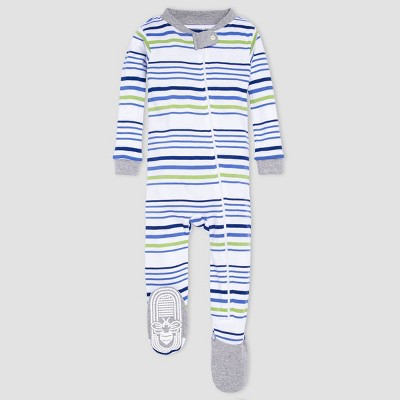 Burt's Bees Baby® Baby Boys' One Piece Striped Footed Pajamas - Heather Gray