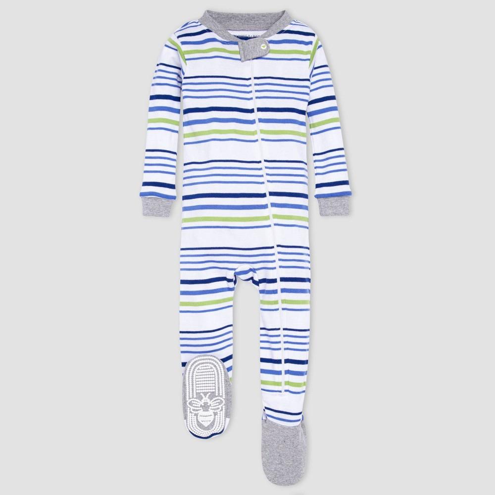 Burt 39 S Bees Baby 174 Baby Boys 39 One Piece Striped Footed Pajamas Heather Gray 6 9m