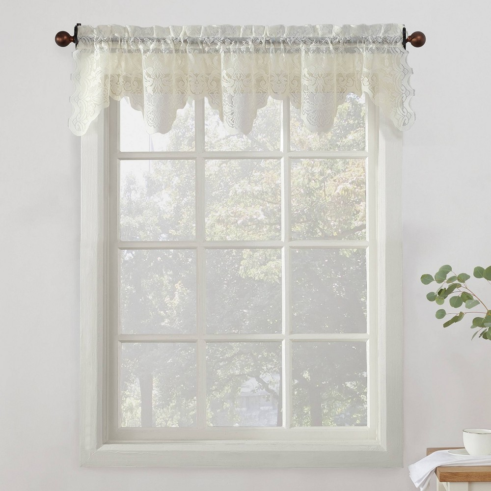 Alison Floral Sheer Lace Elongated Kitchen Curtain Tier Pair Ivory (58