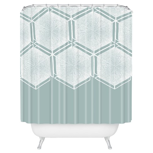 Honeycomb Shape Shower Curtain Blue - Deny Designs® - image 1 of 2