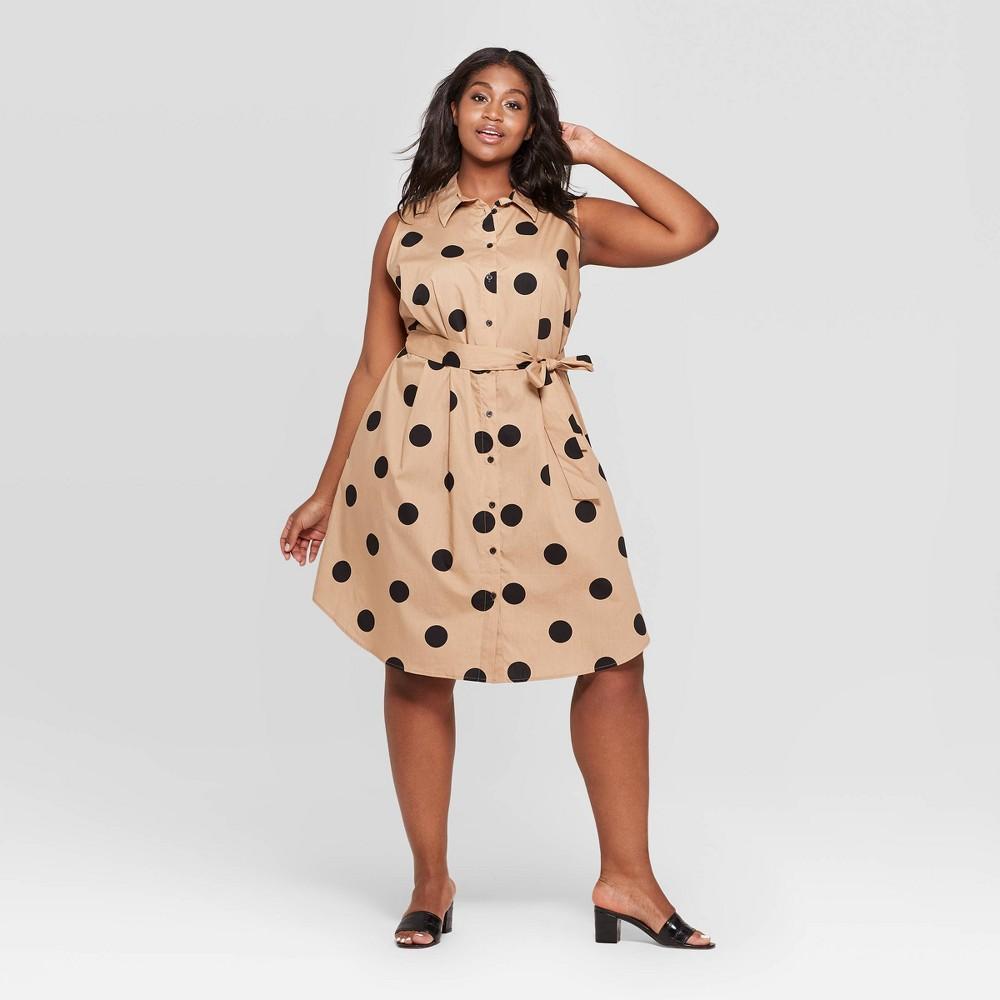Women's Plus Size Polka Dot Button Front Tie Waist Shirtdress - Who What Wear Taupe/Black (Brown/Black) 3X