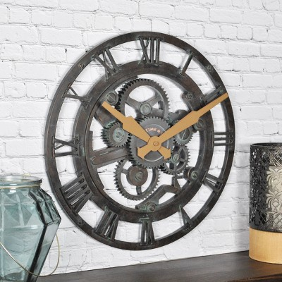 FirsTime Oxidized Gears Wall Clock Teal