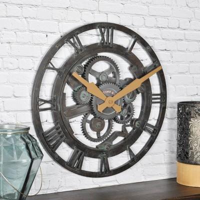 "15"" Oxidized Gears Wall Clock Metallic Teal - FirsTime & Co."