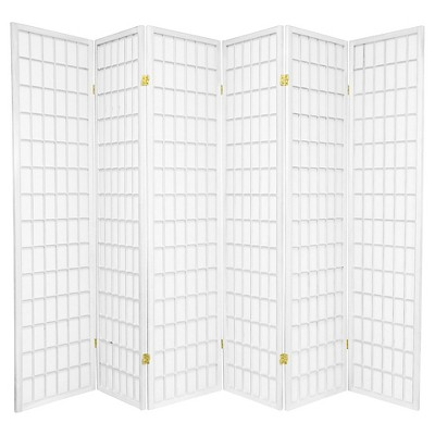 6 ft. Tall Window Pane Shoji Screen - White (6 Panels)