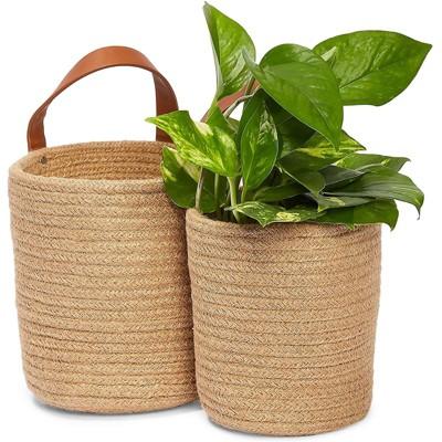 Farmlyn Creek 2 Pack Hanging Planter Basket, Jute Woven Plant Pots (2 Sizes)