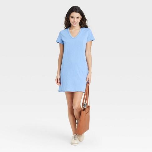 Women's Short Sleeve T-Shirt Dress - Universal Thread™ Blue L