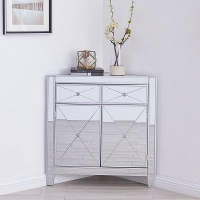 Monroe Mirrored Corner Cabinet Silver - Aiden Lane
