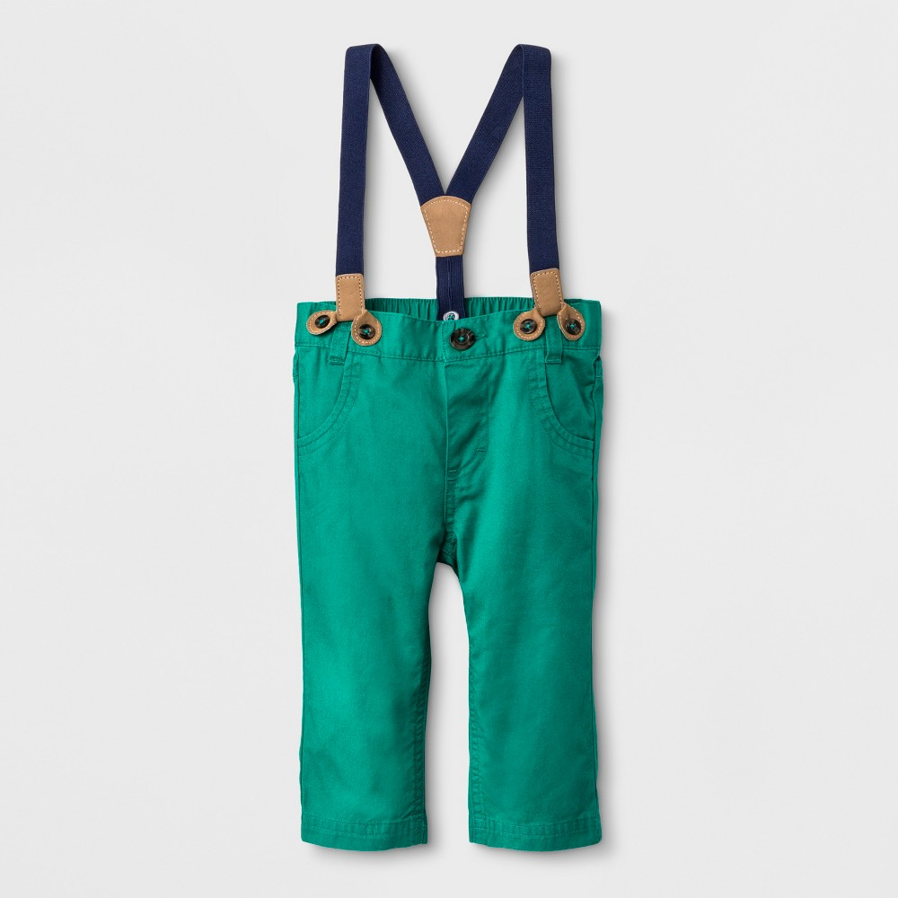 Baby Boys' Woven Twill with suspenders Chino Pants - Cat & Jack Newborn, Green