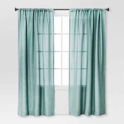 Solid Metallic Window Curtain Panel Blue (54 x84 )- Threshold™