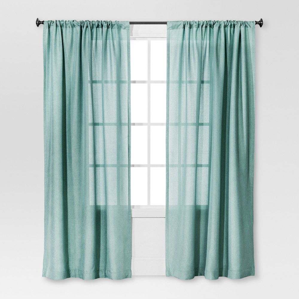 Solid Metallic Window Curtain Panel Blue (54