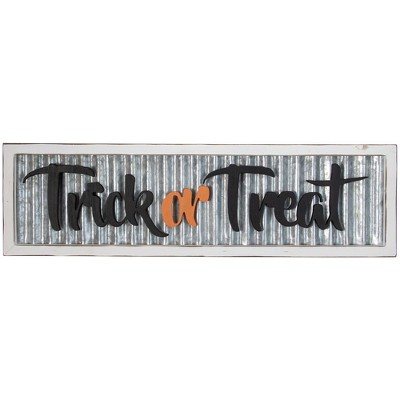 """Northlight 27.5"""" Silver and White Distressed """"Trick or Treat"""" Halloween Wood Wall Sign"""