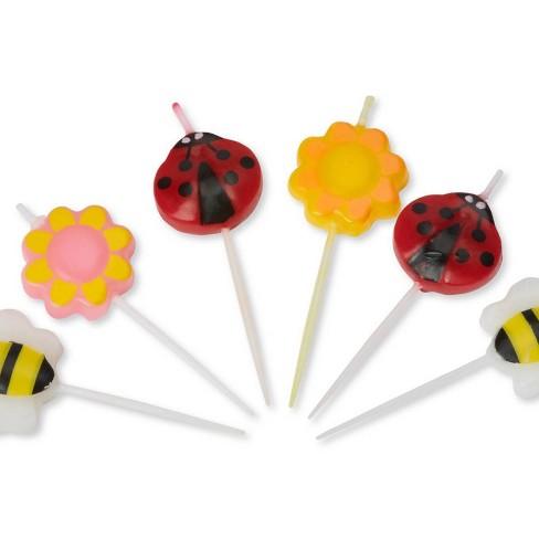 Cool 6Ct Bumble Bee Flowers Ladybug Birthday Candles Target Personalised Birthday Cards Beptaeletsinfo