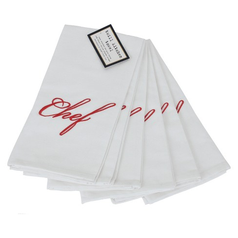 Natural Set of 6 Elegant Embroidered Cotton Twill Chef Towels - ASD Living - image 1 of 1